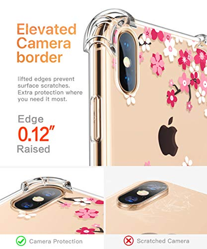 GVIEWIN Compatible with iPhone Xs/X Case, Clear Flower Pattern Design Soft & Flexible TPU Thin Shockproof Transparent…