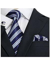 """Landisun Stripes Mens Silk Necktie Set: Tie+Hanky+Cufflinks 30N Navy Blue White, 3.25""""Wx59""""L"""