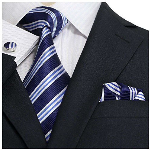 Necktie Blue Stripe (Landisun Stripes Mens SILK Tie Set: Tie+Hanky+Cufflinks 30N Navy Blue White, 3.25