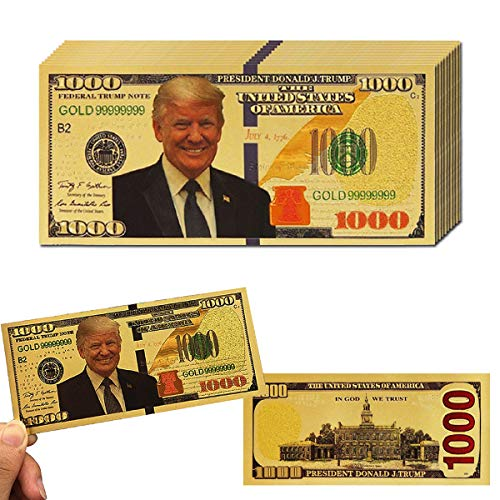 LONG7INES 10Pack Donald Trump 1000 Dollar Bill Banknote, One Thousand 24k Gold Coated Donald Trump Legacy Limited Edition Million Dollar Bill Great Gift for Coin Currency Collectors and Republican