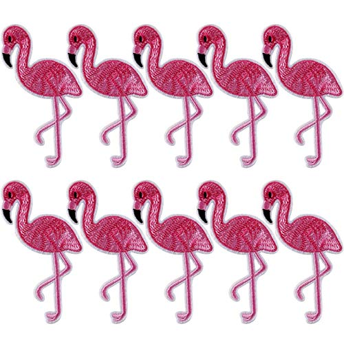 Flamingo Mini - 10pcs Pink Flamingo Embroidered Patches Clothes Sew On Bag Jeans - Stuffed Summer Backpack Embroidery Embroided Cloth Christmas Patch Applique Purse Pouch Tablecloth Party B
