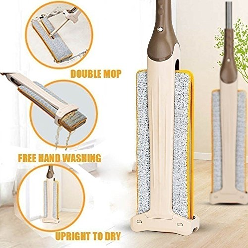 Price comparison product image SFE Double Sides 360 Degree Smart Mop Home Cleaning Tool Swab Swob Non Hand Washing Floor (1 x Mop + 2 x Mop Cloth)