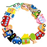MinYn Lacing Vehicles Toy Wooden Block Set String & Lacing Bead for Toddlers Kids City Cars Learning Play Set - 16 pieces