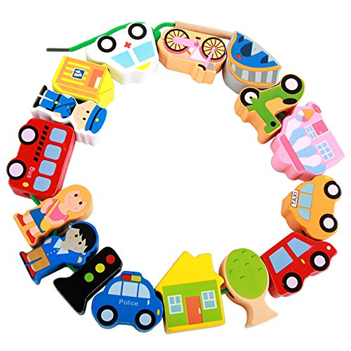 MinYn Lacing Vehicles Toy Wooden Block Set String & Lacing Bead for Toddlers Kids City Cars Learning Play Set - 16 pieces by MinYn