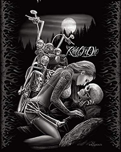 DGA Ride or Die Motorcycle Biker Lovers Queen Size Luxury Royal Plush Blanket