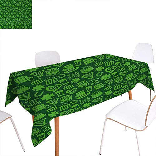 Warm Family Irish Dinner Picnic Table ClothKiss Me Im Irish Humorous Phrase with Ale Shamrocks Hats Traditional Symbols Waterproof Table Cover for Kitchen 60