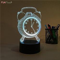 Funplaza Art Sculpture Decoration 3D visual Atmosphere Night Light AlarmClock 7 Colors LED