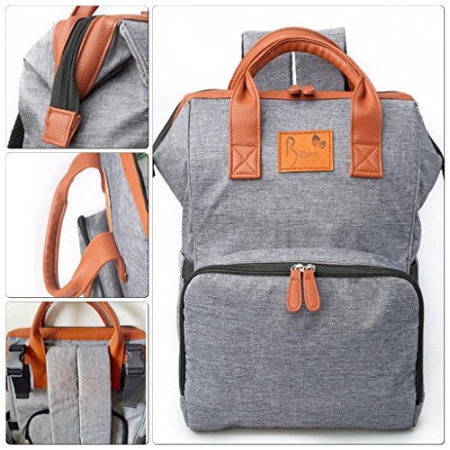 Zippered Multifunction Organizer (Diaper Bag Backpack, Stylish Large Multi Function Organizer for Mom and Dad with Bonus Baby Stroller Straps, Nappy Changing Pad, Insulated and Waterproof Pockets, Designer Grey and Water Resistant)