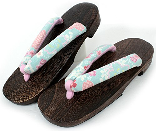 Japanese women Flip Flops Wooden Sandals Shoes Green Cherry blossoms sakura flower from Kimono Japan