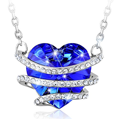 2017 Graduation Jewelry Gifts - CAROLIER Blue Heart Pendant Necklace Made with Swarovski Crystas Engraved