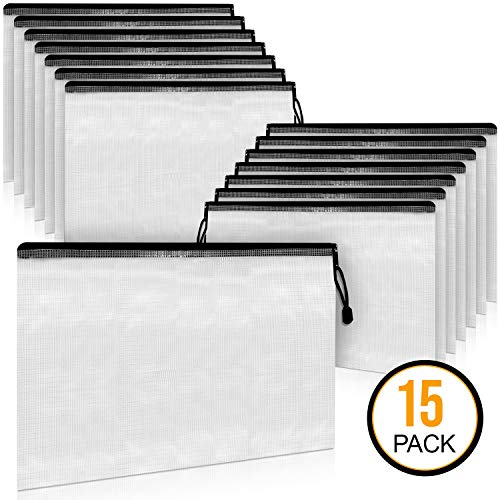 A4 Document Holder with Zipper (15 Pack) - Large Stylish Multipurpose Organizer Folder for School Supplies, Business Papers, Files and More - Clear Mesh Weatherproof Protection Storage ()