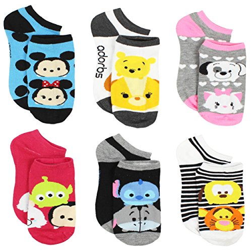 Tsum Tsum Girls Womens 6 pack Socks (Big Kid/Teen/Adult)
