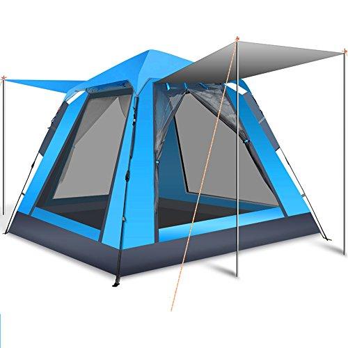 輸送社会学甥登山テント3-4人自動テントスピードオープンダブルドアアルミ屋外キャンプテント屋外キャンプストームレイン防水テント屋外スポーツマンに適して