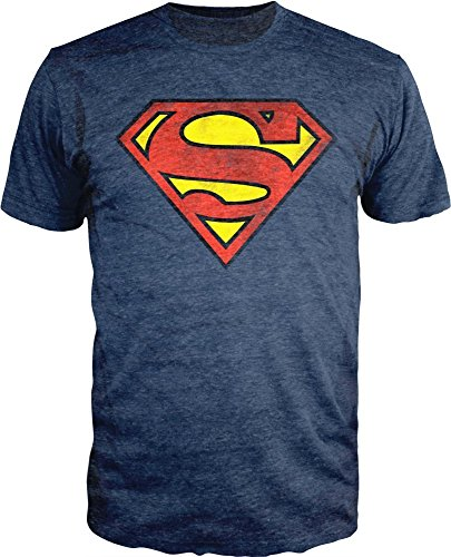 Superman Logo Shield Heathered Navy