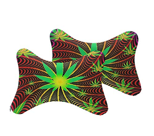 Cool Tie Dye Weed Unique Design Car Seat Neck Pillow Cervical Pillow Neck and Shoulder Pain Relief Travel Sleeping Cushion, Headrest Support Cushion for Office Desk Chair Car Seat