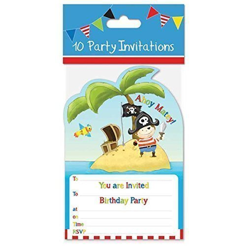 Pirate party invitations amazon 10 x party invites invitations boys blue pirate design and envelopes by the home fusion company stopboris Choice Image