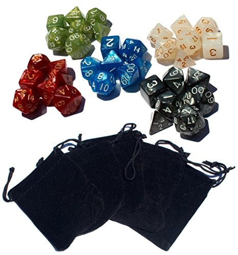 High City Books 35 Polyhedral Dice | 5 Sets of Dice for Dungeons and Dragons and Other RPG's