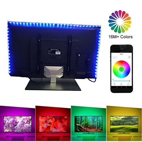 Bluetooth LED Strip Lights 6.56ft for 40-60in TV, LUXJET USB LED TV Backlight Kit Smartphone APP Remote Control, RGB Color Changing 5050 LEDs Accent Bias Lighting for HDTV, Desktop PC, Flat Screen