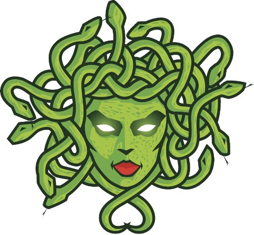 MEDUSA WITH GREEN SNAKES AND RED LIPSTICK Vinyl Decal Sticker Two in One Pack (4 Inches Wide)