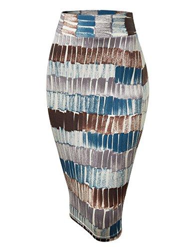 WB1304 Womens Print Midi Pencil Skirt XXL Teal_Brown