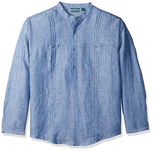 Cubavera Men's Long Sleeve 100% Linen Tunic-Style Shirt with Pockets and Pleats, Delft Extra Large