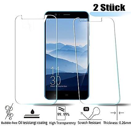 MiSha Protector de Templado para Elephone P8 Mini, (2 Habitaciones), 9H, Resistente a los arañazos, de Alta definición, de Alta sensibilidad, 2.5D, ...