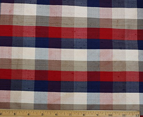 Red & Beige & Blue Dupioni Plaids, 100% Silk Fabric, By The Yard, 44