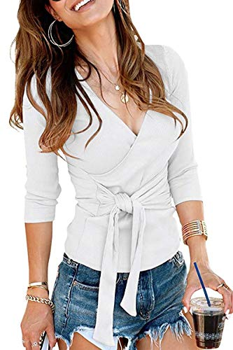 Women Going Out Tops -Ladies Ribbed V Neck Long Sleeve Wrap Front Tie Waist Blouses Shirts White - Blouse Tuck Front