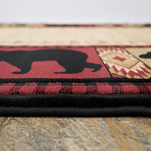 "Rug Empire FS810P NORTH TERR Northern Territory Lodge Rustic Bear Moose Snow Area Rug, 7'10"" x10'"