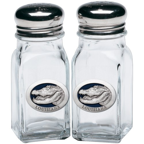 1pc, Pewter Alligator w/Louisiana Salt & Pepper Shakers