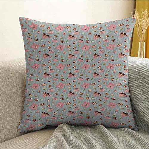 Bedding Soft Pillowcase Hypoallergenic Pillowcase Cupcakes Cookies and Flowers on Polka Dotted Background Great Britain Tradition W16 x L24 Inch Multicolor]()