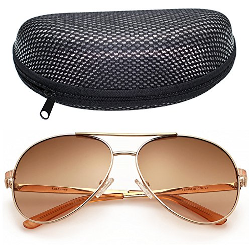 LotFancy Aviator Sunglasses for Women with Case, 61mm Lens, Metal Frame, 100% UV 400 Protection (Gold, Light Brown - Women Sunglasses Aviator
