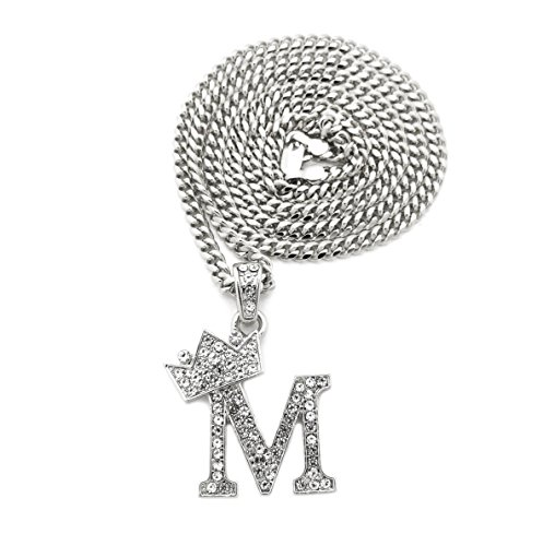 Unisex Small Pave Crowned Initial Alphabet Letter Pendant 3mm 24