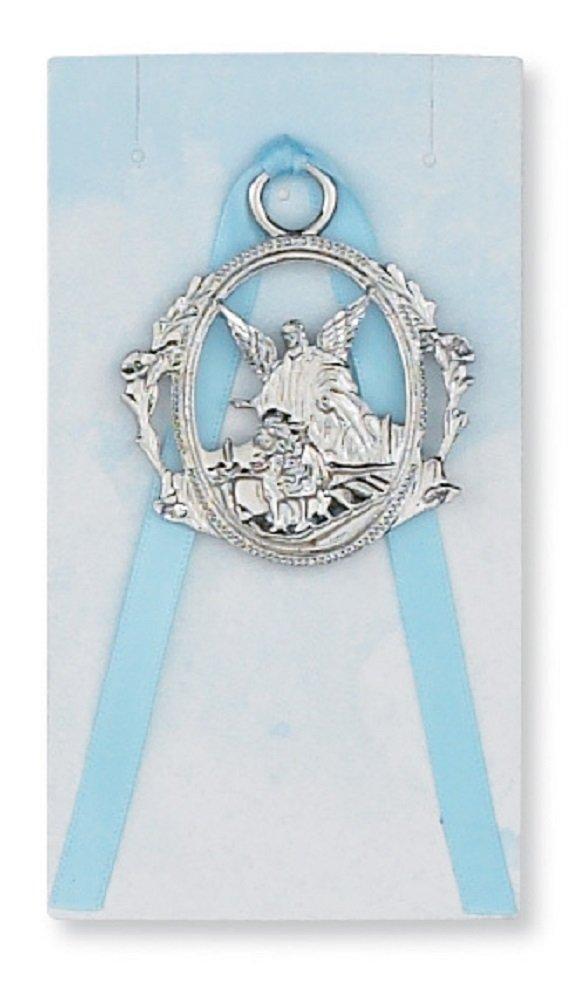 Boys Guardian Angel Crib Medal. Baptism. Baby Shower Gift.