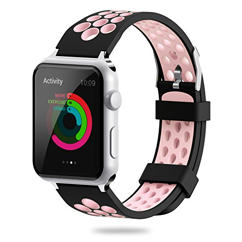 For Apple Watch Band 38mm 42mm - YiJYi Soft Silicone Sport Strap Replacement Wristband iWatch Bands for Apple Watch Series 3 - Series 2 - Series 1 (6.Pink-Black - 38mm)