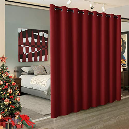 (RYB HOME Light Block Curtain Divider Extra Wide Room Divide Curtain Separate Wall Shelves for Share Apartment for Nursery/Home Theatre/Storage/Studio/Office, W 15ft x L 8ft, 1 Panel)