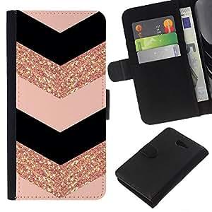 KLONGSHOP // Tirón de la caja Cartera de cuero con ranuras para tarjetas - patrón oro vestido de moda del galón - Sony Xperia M2 //