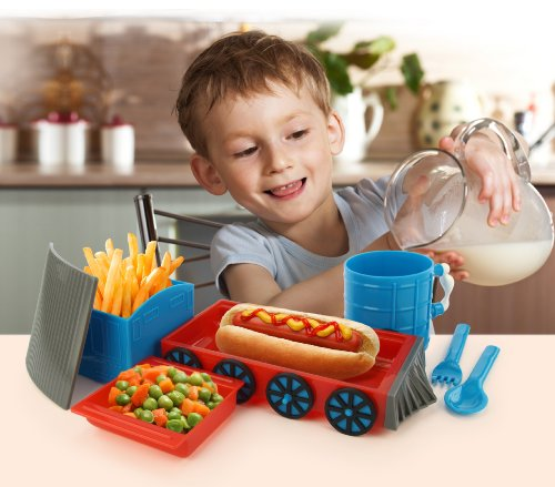 KidsFunwares Chew-Chew Train Place Setting, Blue - Transforms from a Train into a Functional Meal Set - Includes Bowl, Small Plate, Plate, Fork, Spoon, and Cup - Great Gift for Kids - Dishwasher Safe by KidsFunwares (Image #5)