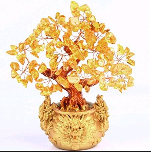 7' Feng Shui Pale Gold Dragon Crystal Money Tree Bonsai Style Decoration for Wealth and Luck Dragon Vase