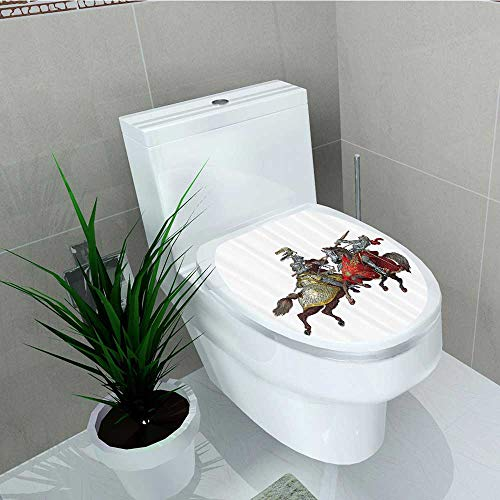 Printsonne Toilet Seat Wall Stickers Paper mMiddle Age Fighters Knights Ancient Costume Renaissance Period Decals DIY Decoration W13 x L18 for $<!--$21.99-->