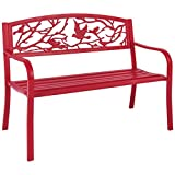 Rose Red Patio Garden Park Bench , Solid Steel Construction, Perfect For Any Garden and Backyard, Can Sit 2-3 People