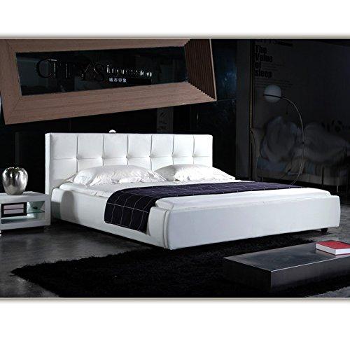 (140cm x 200cm) London Weiss Doppelbett Polsterbett Bettgestell Bett Lattenrost Kunstlederbett