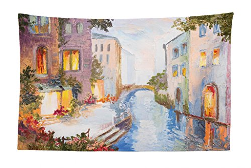 - Lunarable Venice Tapestry, Historical City Vintage Houses Water Canal Venice Italy Oil Painting, Fabric Wall Hanging Decor for Bedroom Living Room Dorm, 45