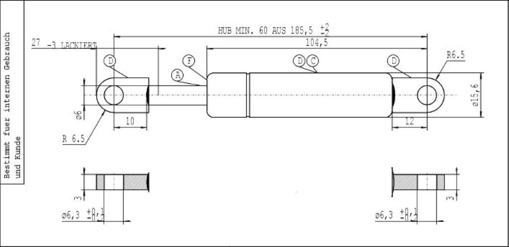 gris Stabilus Muelle a gas Lift-O-Mat
