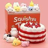 Satkago Mochi Squishys Toys Slow Rising Squishys, Strawberry Cake Slow Rising Squishys + 14 Pcs Mini Mochi Squishys Toys Kawaii Squishys Stress Reliever Anxiety Squishys