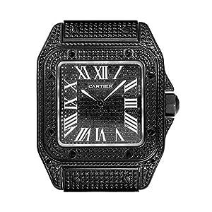 Set de Diamantes de PVD Personalizados Color Negro Cartier Santos 100 Grande W20073X8 7