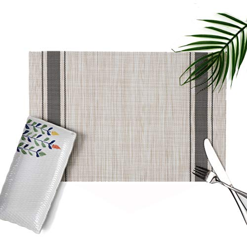 Millie Home Placemats for Dining Table Vinyl Heat Resistant Wipeable Placemat Non-Slip Washable PVC Kitchen Place Mats Set of 6,Gray Stripe by Millie Home