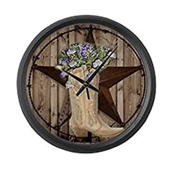 CafePress - Cowboy Boots Western Country Barn Wood Large Wall - Large 17 Round Wall Clock, Unique Decorative Clock