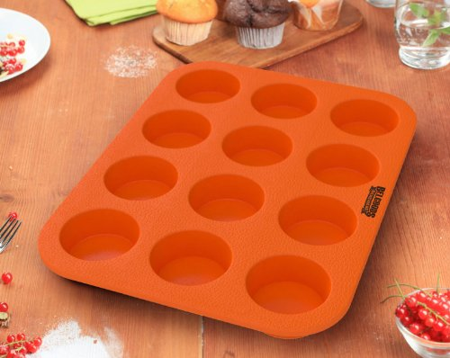 Silicone Muffin Cupcake Baking Pan Tray - Standard Size - 12 Cups - 100% Pure Food Grade Non-Stick Silicone - Orange - Bake Like a Professional by Belgoods Bakeware (Image #3)