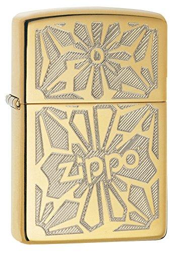 Zippo Flower Design Pocket Lighter, High Polish Brass - High Performance Fuel Refill